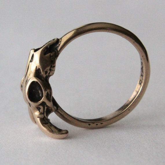 Ram Skull Ring in Solid Bronze Sideways Ram Skull Ring by mrd74