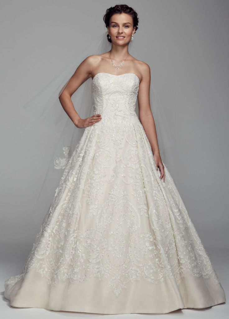 Organza tulle ball gown with sweetheart neckline david 39 s for Tulle and organza wedding dresses