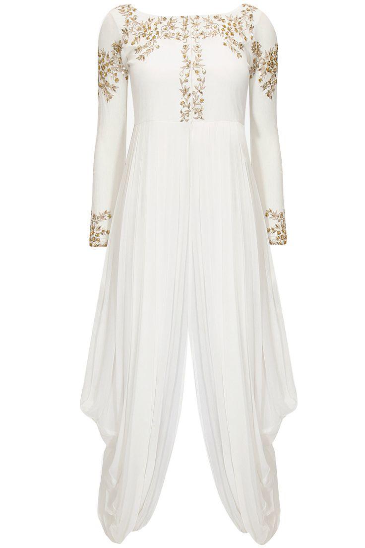 White embroidered dhoti gown  by Prathyusha Garimella. Shop at: http://www.perniaspopupshop.com/designers/prathyusha-garimella #dhoti #gown #prathyushagarimella #shopnow #perniaspopupshop