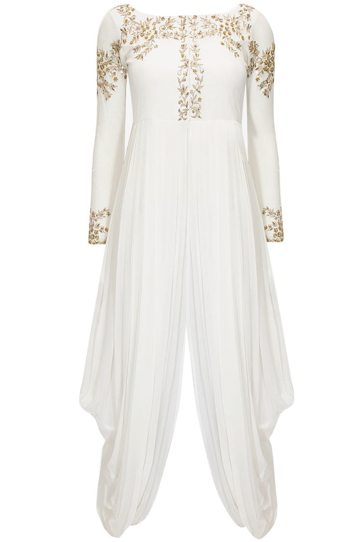 White embroidered dhoti gown by Prathyusha Garimella. Shop at: http://www.perniaspopupshop.com/designers/prathyusha-garimella