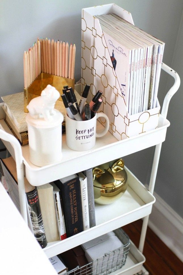 Use a bar cart as a night stand.