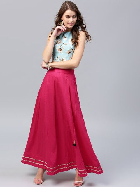 58916dffa48588 Women Blue & Pink Printed Crop Top With Skirt love the colour combination
