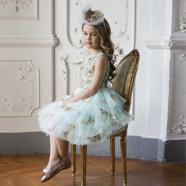 Lesy Luxury - Turquoise Blue Tulle & Gold Lace Dress | Childrensalon