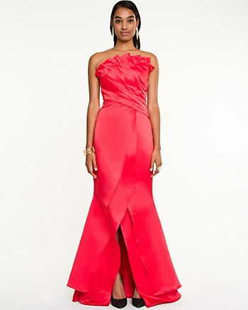 Satin Origami Pleated Gown