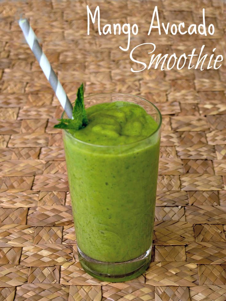 This creamy Mango Avocado Smoothie is healthy, delicious, and a lovely green beverage for a St. Patrick's Day snack!  It is also a Dairy free smoothie.