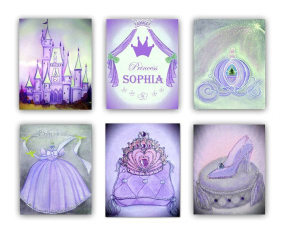 Princess Wall Art, SET OF 6 Art Prints, Cinderella, Princess Nursery, Kids Wall Art, Girls room, Baby Girl Nursery, Princess Decor, Purple    Check