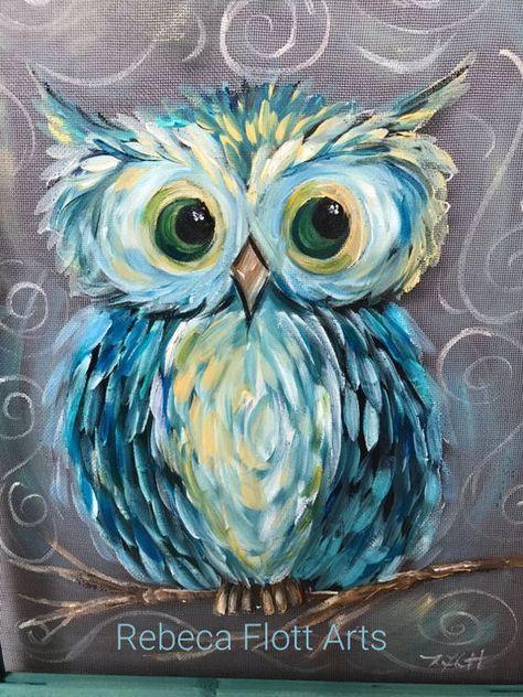 Owl Always Love You PaintingOriginal Hand Painting On Window Screen Repurpose FrameTeal Frame
