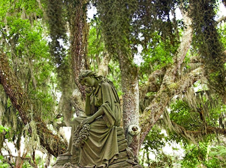 Thinking For Eternity. She was so serene looking amid the spanish moss. Bonaventure Cemetery, GA. ♥ #travel #cemetery