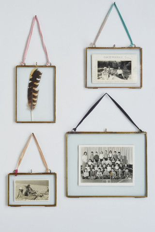Double sided picture frame: hanging brass