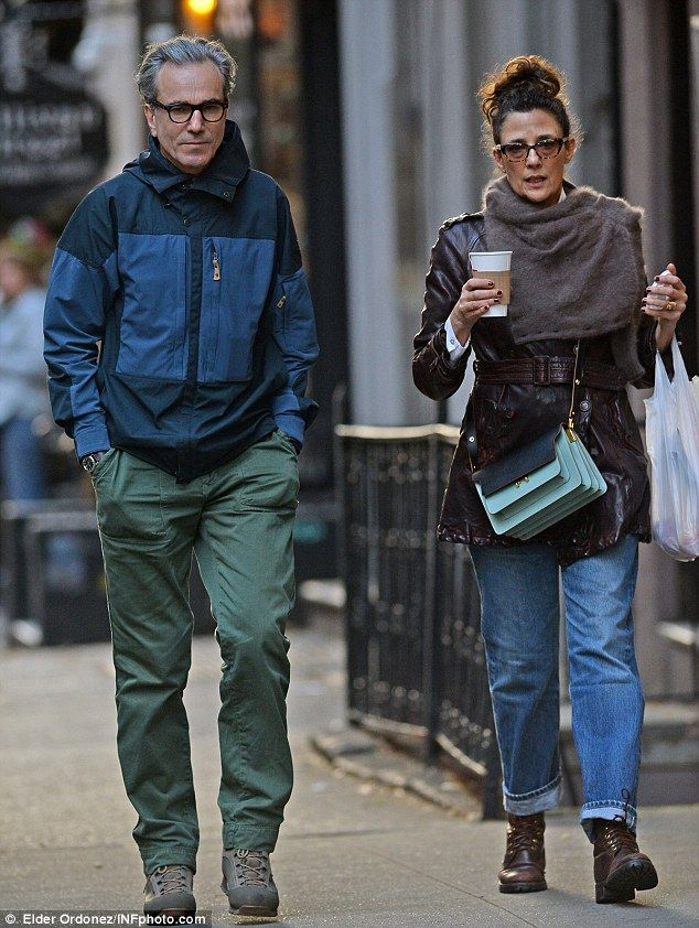 Power couple: Daniel Day-Lewis, 58, and his wife Rebecca Miller, 53, looked loved-up as ever as they stepped out for a coffee in New York on Friday