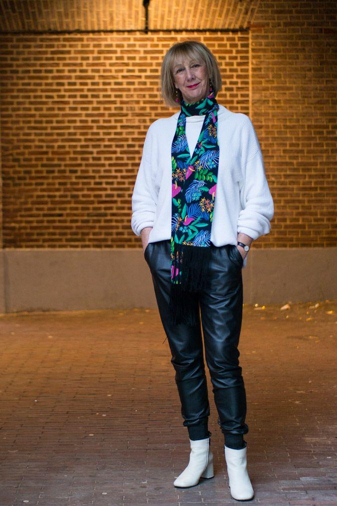 black leather jogging trousers Tony Cohen, long scarf Essentiel Antwerp, cream boots Fly London