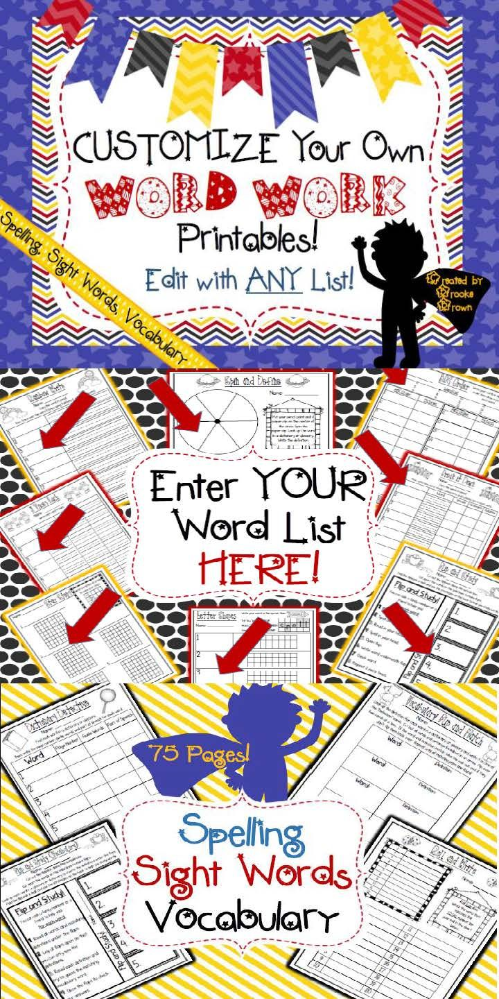 Customize your OWN Word Work Printables for Spelling, Sight Words, or Vocabulary! Edit with ANY Word List!