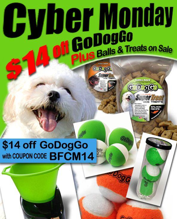 CYBER MONDAY SALE @ GoDogGo Find @ www.godoggoinc.com  GoDogGo Fetch Machine is on EVERY ball-crazy dog's Christmas List!   Maker of the World's Original Automatic Ball Thrower for Fetch-Crazy Dogs since 1999.