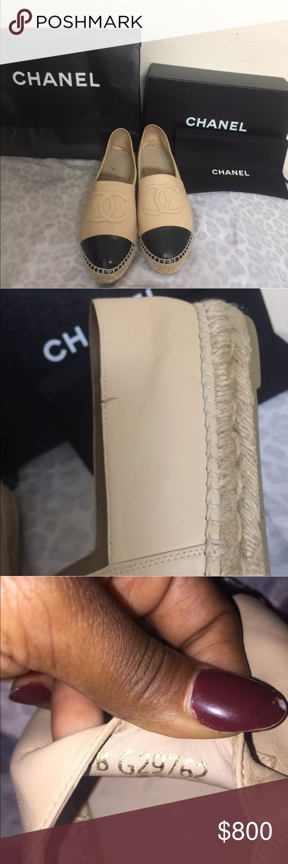 Chanel espadrilles size 40 comes with original box bag and dustbag. has fracture inside. no trades. I SHIP ITEMS BETWEEN 1-2 BUSINESS DAYS. ALL OFFERS MUST BE SENT BY BUTTON I DONT NEGOTIATE IN COMMENTS. CHANEL Shoes Espadrilles