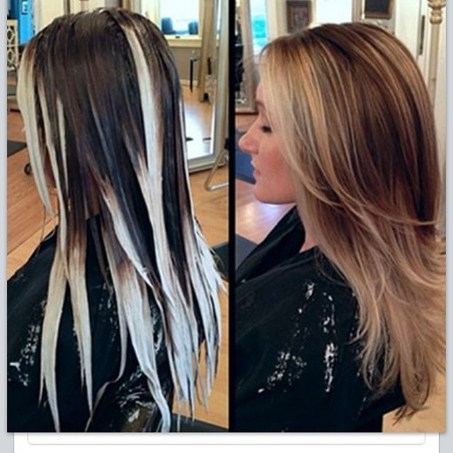 Looks scary at first with huge chunky blonde highlights, but it turned out really pretty