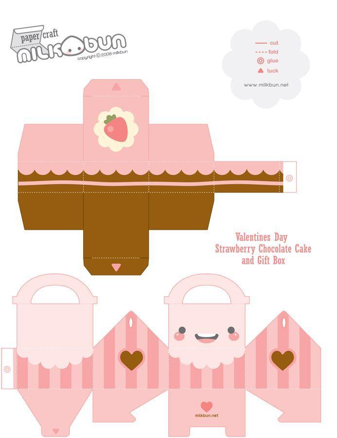 <3 Valentine's Cake Box. |  Papercrafts