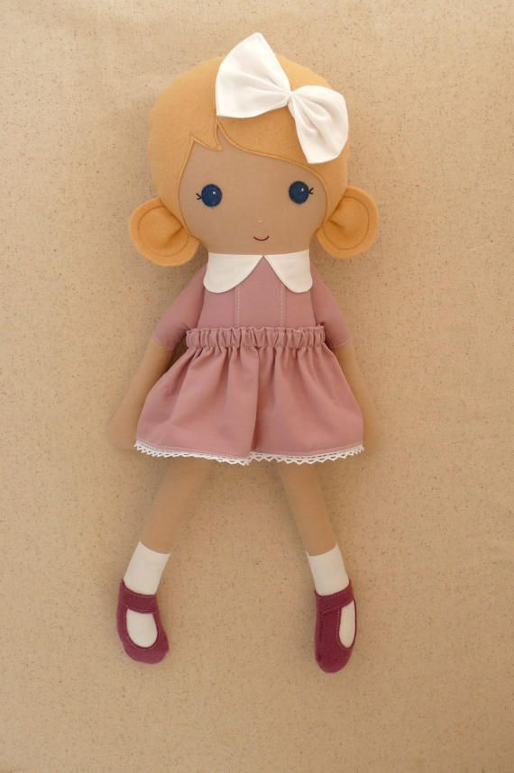 Fabric Doll Rag Doll Blond Blond Haired Girl in от rovingovine