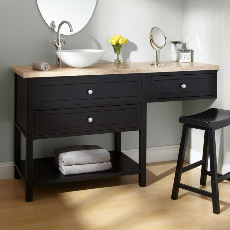 "Bathroom Makeup Vanity and Chair | ... Sink Vanities / 60"" Taren Black Vessel Sink Vanity with Makeup Area"