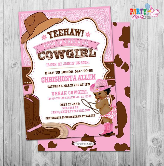Cowgirl Baby Shower Invitation, African American Baby Shower Invitation, Cowgirl  Baby Shower, Girl Baby Shower Invitation, Printable Invite
