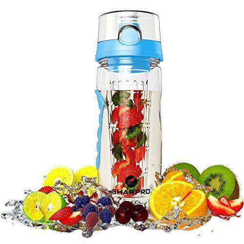 Sharpro Fruit Infuser Water Bottle 32 Ounce Blue