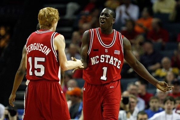 J.J. Hickson #1 of the North Carolina Wolfpack celebrates with teammate Trevor Ferguson #15 after Hickson scored and was fouled against the Miami Hurricanes during Day 1 of the 2008 Men's ACC Basketball Tournament at Bobcats Arena on March 13, 2008 in Charlotte, North Carolina.