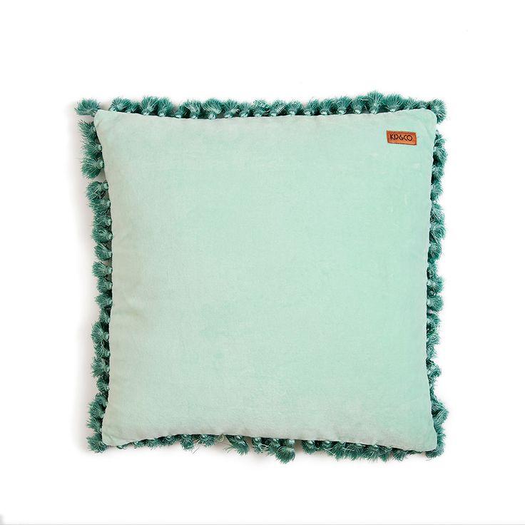 Kip & Co   AW15 Spearmint Velvet Tassel Cushion Cover