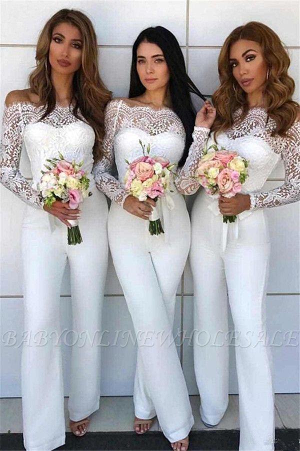 Off Shoulder Lace Jumpsuit Bridesmaid Dresses Long Sleeves Sheath Wedding Party Pants Long Sleeve Bridesmaid Dress Bridesmaids Jumpsuits White Bridesmaid