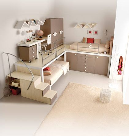 Teens Room, Brown Wooden Cabinets Beds Rooms Stair Case Railings Shelves Book Carpet Fur Rug Bright Decoration Wall Pillow Marble Floor Bunk Loft Room Furniture Modern Ideas Rooms Teens Design: Wonderful, Bunk Beds and Lofts for Teenagers and Kids
