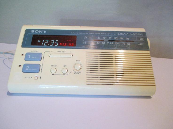 Clock Radio, Sony Dream Machine, AM FM Alarm Clock Radio, Wake Up Call, model ICG+F-C221W, 9 volt or 110 volt, Retro Decor, Easy Listening by HobbitHouse on Etsy