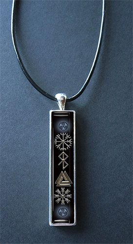 Viking Symbols Resin and Pewter Pendant with Leather Cord/keukasigns on etsy