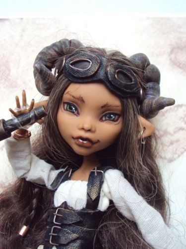 Monster-High-Barbie-OOAK-custom-repaint-Steampunk-Faun-Traveller-Clawdeen-Wolf