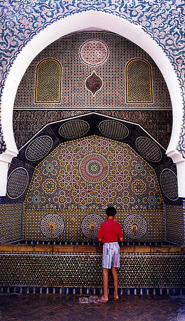 MAROC & Orient Water fountain in Marakesh; Morocco