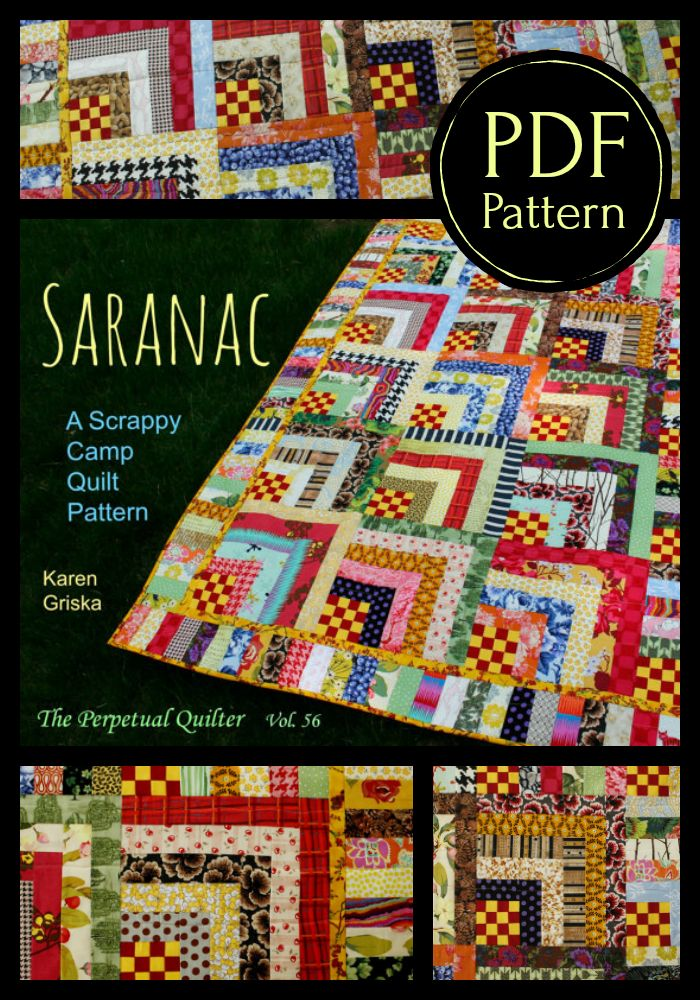 Scrappy quilt and a log cabin variation. #quilting #ad #quiltpattern #digitalpattern #logcabin