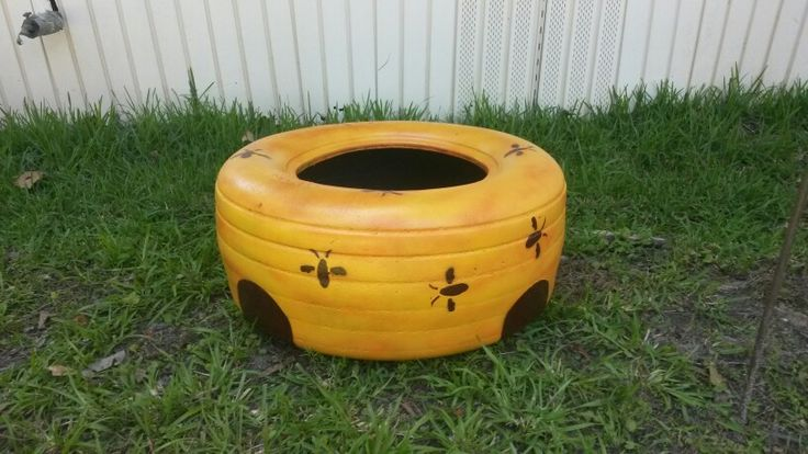 Beehive tire planter out of a tractor tire.