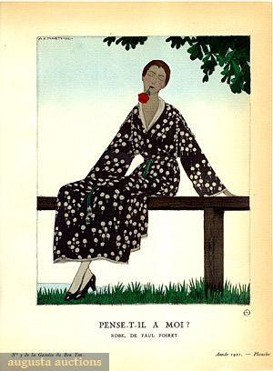 Augusta Auctions, May 2007 Vintage Clothing & Textile Auction, Lot 663: Paul Poiret Fashion Illustration, 1921