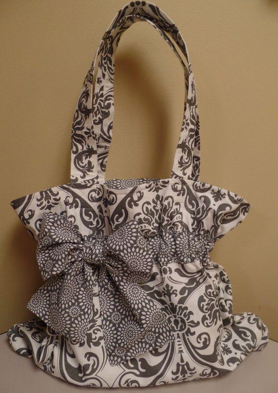 Grigio e bianco tessuto Paisley e cerchi Trim fodera spalla Tote Bag con disegno cerchio arco e Trim Shoulder Purse o Tote Bag