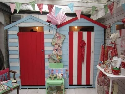 Beach hut changing rooms