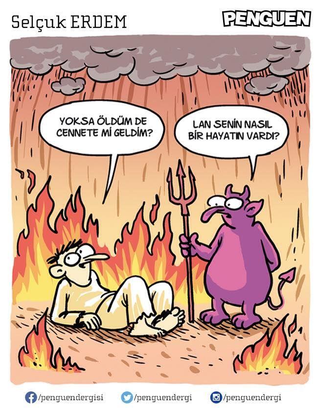 - Yoksa öldüm de cennete mi geldim? + Lan senin nasıl bir hayatın vardı?  #karikatür #mizah #matrak #komik #espri: