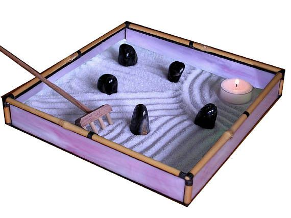 Zen Sand Garden in Purple Glass and Bamboo - PR02
