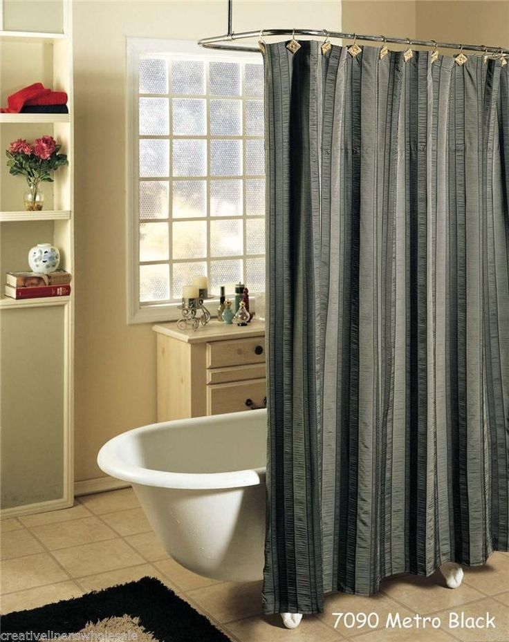 Gray And White Striped Shower Curtains - Mobroi.com