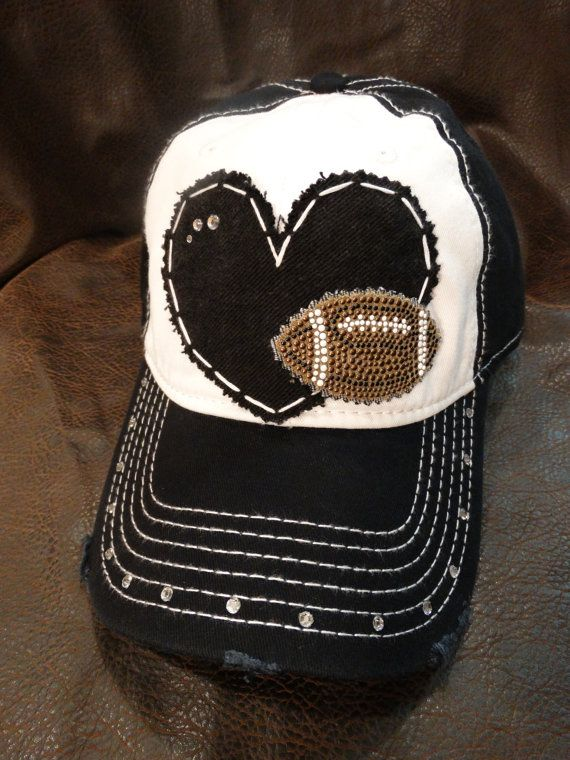 Football love distressed hat by BlingirlSpirit on Etsy, $26.95