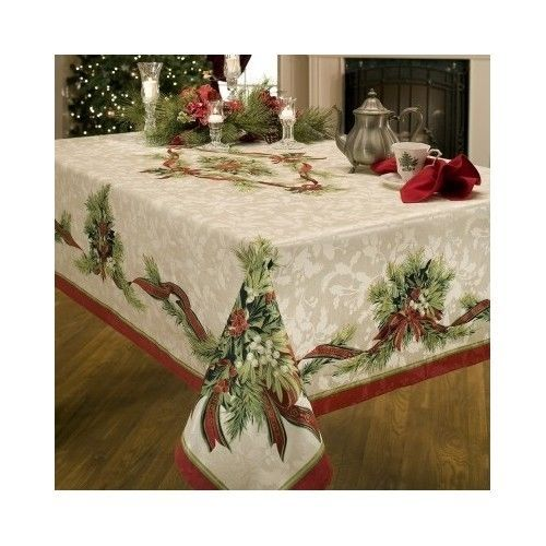 christmas ribbons tablecloth dining table cloth diiner linen green red mistletoe