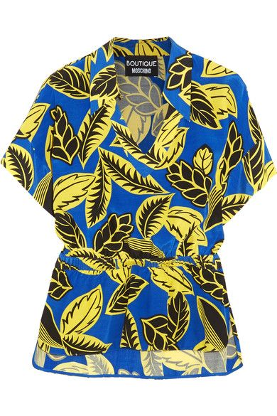 Boutique Moschino - Printed Crepe De Chine Blouse - Blue - IT42