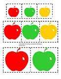 Apples Theme for preschool,   Pre-K and Kindergarten  Apples_sorting_&_matching.  Categorize large, medium and small apples, in red, green and yellow colors. 3 pages, color.