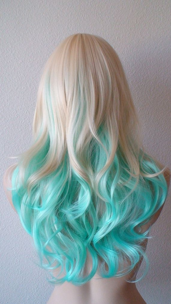 Blonde Hair With Color Underneath: Blonde /Teal Ombre Wig. Medium Length Curly Hair Long Side