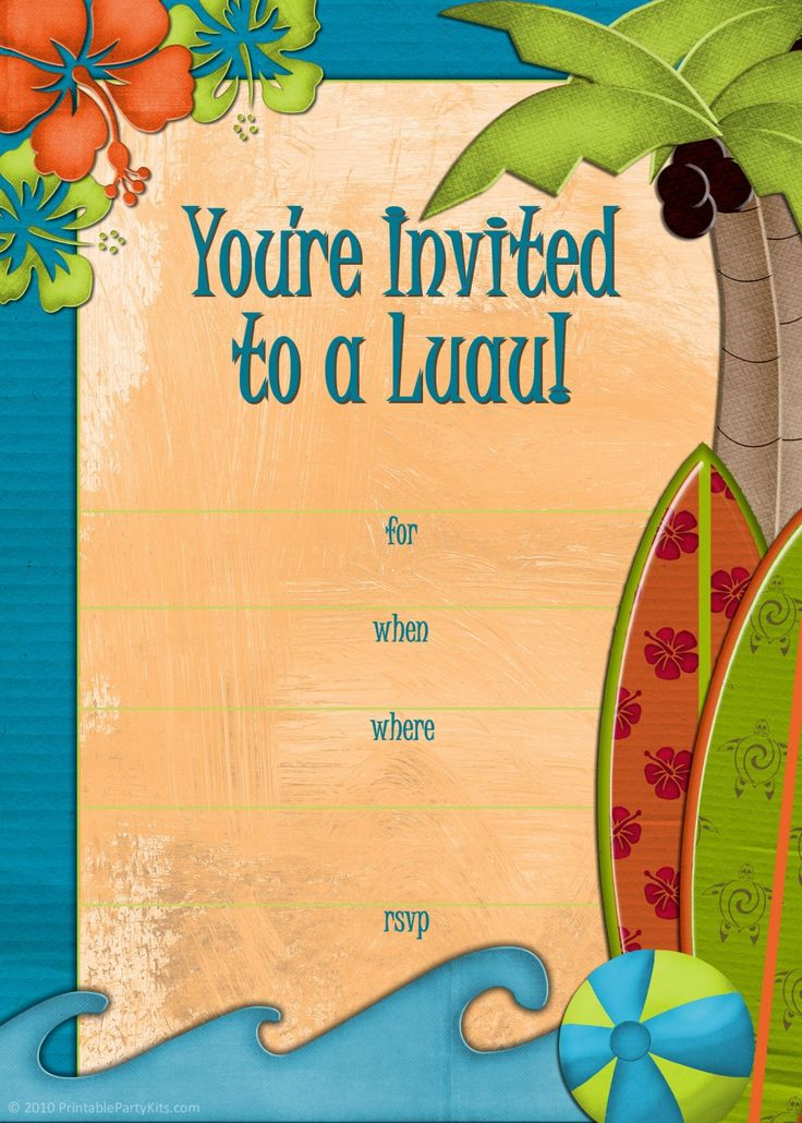 16 best luau beach party images on pinterest | holiday beach, Birthday invitations