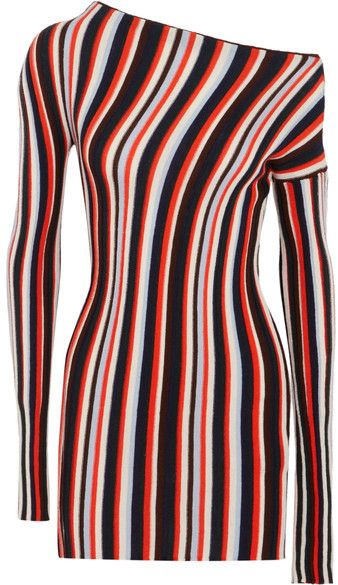 Jacquemus - One-shoulder Striped Wool Mini Dress - Red