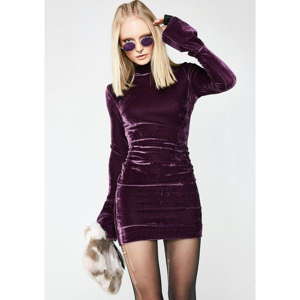Velvet Bell Sleeve Bodycon Plum Dress ($36) ❤ liked on Polyvore featuring dresses, long bell sleeve dress, bell sleeve dress, high neck bodycon dress, high neck long dress and purple bodycon dress