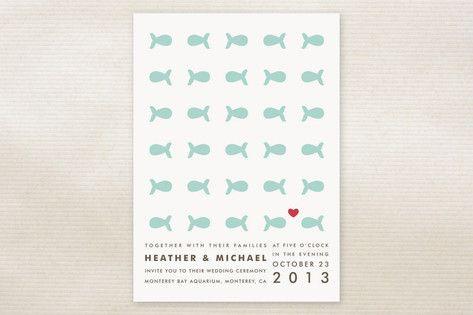 cute fish themed wedding invitations
