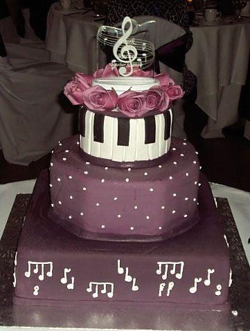 Music Wedding Cake w/Illuminted cake top - Three tier Music themed wedding cake with illuminated clef note, acrylic cake topper from artZengraving.